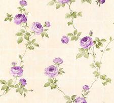 Vlies Tapete Kacheln Blumen Kletterrosen beige grün lila 34501-5 Chateau 5