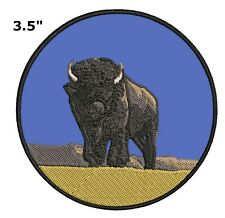 Buffalo Embroidered Patch Iron-On Souvenir Travel Explore Natures National Parks