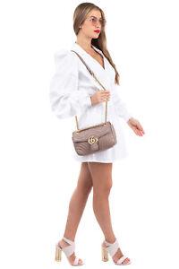 RRP€1850 GUCCI GG Marmont Leather Crossbody Bag Matelasse Chevron Push Lock Flap