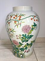 Chinese Porcelain Big Ginger Jar Early 20th Century Famille Rose Chrysanthemums