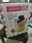 Sunbeam 4 Quart Ice Cream Maker Wooden Bucket w Original Box