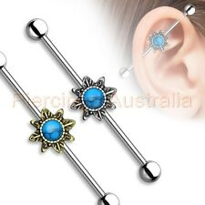 14G 38mm Turquoise Sun Industrial Barbell Ear Ring Bar Piercing Jewellery