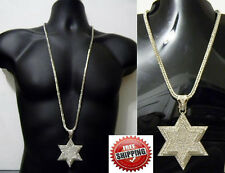 """David Star Pendant Franco Chain 36"""" Iced Out Jewish Hip Hop Necklace Crystal New"""
