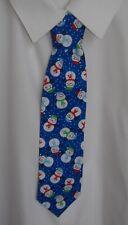 Handmade Boys blue Snowman cartoon print tie - Pre-tied elasticated