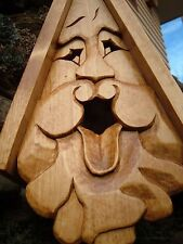 Unique Tongue Bird House Rustic Hand Carved Sticking Tongue Face Wood Spirit 16""