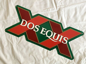 """Dos Equis Cerveza Tin Tacker Metal Beer Sign 22.5"""" by 9"""""""