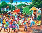 26 x 33 VINTAGE ORIGINAL COLLECTIBLE HAITIAN ART PAINTING ANDRE NORMIL HAITI