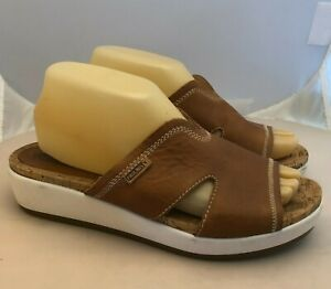 Pikolinos Wedge Slide Sandals Womens size 39 EU 8.5 9 US Tan Leather Cork Insole