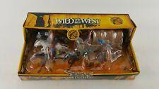 WILD WEST PLAYSET WAGON 4 INDIANS 2 COWBOYS 5 HORSES LASSO ROPE RIFLE ARROW BOW