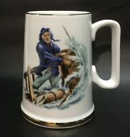 Vintage Norman Rockwell 'Braving the Storm' Mug, Cup with Gold Gilding, VGC