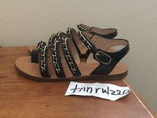 Authentic Black Leather CHANEL Gold CC Logo Chain Gladiator Sandals 37.5 7 7.5