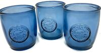 Lot of 3 San Miguel 100% Authentic Recycled Glass Blue Drinking Tumblers