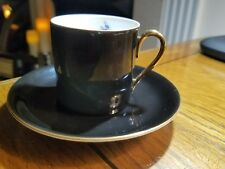 VICTORIA CZECHOSLOVAKIA SMALL DEMITASSE CUP & SAUCER BLACK COLOR