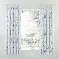 Charlotte Thomas Salcombe Pencil Pleat Lined Curtains, Blue, 66 x 72 Inch