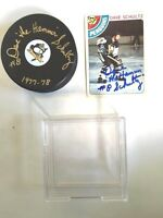 Pittsburgh Penquin Dave the Hammer Schultz Signed Puck / Case/ Hockey Card