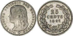Netherlands: 25 Cents silver 1897 - F-VF