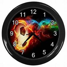 NEW SOCCER BALL ON FIRE  HANGING WALL CLOCK BEDROOM LOUNGE HOME DECOR OFFICE