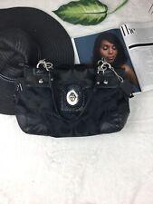 COACH cc print black leather handbag silver details Women's Bag