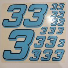 Blue w/Black #3's  Racing Numbers Vinyl Decal Sheet 1/10-1/12 slash