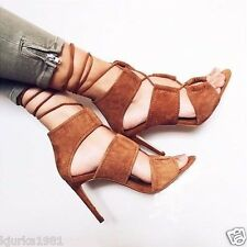 ZARA TAN / WHISKY LACE UP LEATHER SHOES HIGH HEELS, SIZE UK6/ EUR39