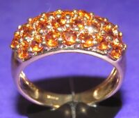 SECONDHAND 9ct YELLOW GOLD MULTI ORANGE GARNET OBLONG CLUSTER RING SIZE N