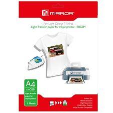 MIRROR A4 IRON ON T-SHIRT TRANSFER PRINTER PAPER LIGHT COLOURED SHIRTS 5 SHEETS