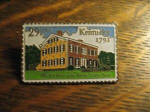 KY Home Stamp Pin - Vintage 1992 Kentucky USA U.S. Mail Postage Gold Lapel Badge