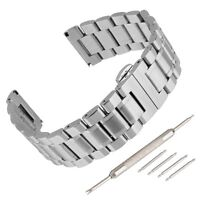 Stainless Steel Watch Band Strap Bracelet Double Clasp Solid Links Black/Silver