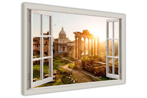 ANCIENT ROME SUNSET 3D WINDOW BAY VIEW CANVAS WALL ART PICTURES FRAMED PRINTS