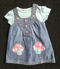 Baby clothes GIRL 9-12m NEXT toadstools demin dress/T-shirt 2nd item post-free!