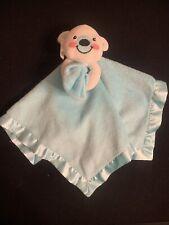 Fisher-Price Baby White Teddy Bear Blue Security Blanket Lovey Lovie