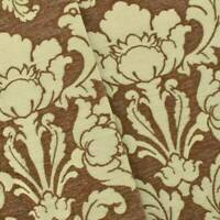Brown/Ivory Chenille Floral Baroque Home Decorating Fabric, Fabric By The Yard
