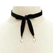 Women Black Velvet Chain Choker Bow Tie Gold Triangle Pendants Collar Necklace