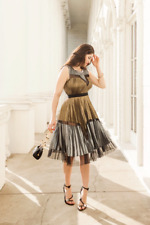 $298 BCBG Lucea Black Gold Silver Metallic Pleated Cocktail Dress SZ XXS 0 XS 2