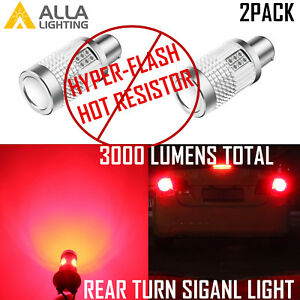 1156 LED CANBUS No-Hyper-Flashing Rear Turn Signal Light Bulb Vivid Red Blinker