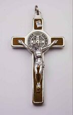 St. Benedict Crucifix Nickel Plated w/ Inlaid Wood - 3""