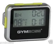 GYMBOSS INTERVAL TIMER & STOPWATCH SILVER / YELLOW METALLIC GLOSS SHIP FR CANADA