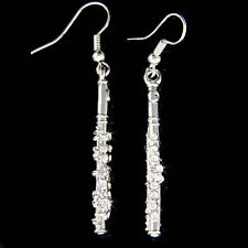 Flute Woodwind made with Swarovski Crystal Music Instrument Earrings Jewelry New