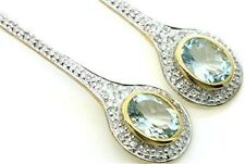 Aquamarine & 62 Diamond 9ct 9K Solid Gold Stud Genuine Earrings - 30 Day Returns