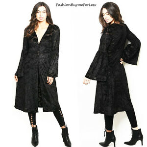 70S Retro Vintage Black Kimono Velvet BOHO Bohemian Burnout Cardigan Top  1533