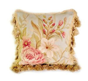 Aubusson Pillow | Handmade French Gobelins Tapestry Weave Wool Throw Pillowcase