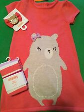 Gymboree Baby Girl 2T Bear Sweater Dress Hair Clip & Tights NWT