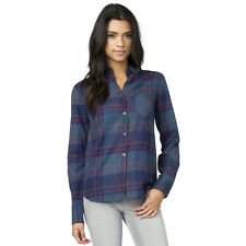 2016 NWOT WOMENS ELEMENT WYLIE PLAID FLANNEL $45 M Teal/Blue button down front
