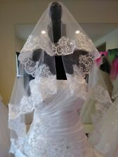 White 1 tier Lace Applique Edge Cathedral Bridal Veils (55 Inches) US SELER
