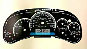 Gauge Face Overlay with Trans Temp for 2006 2007 GM Silverado Tahoe Sierra Gas