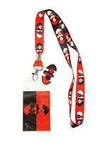 DC Comics Batman Harley Quinn Logo Lanyard ID Holder Keychain W/Rubber Charm New