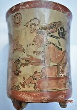"Sale! Pre Columbian Mayan Crypt Tripod Vase, Glyphs huge 6"" Prov"