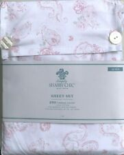 Rachel Ashwell Simply Shabby Chic Pink Paisley Rose White QUEEN Sheet Set RARE