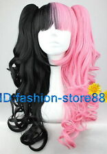 Lolita Style long wigs half Pink,half black Curly Wave Women Party Cosplay Wig