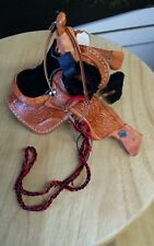 One  Johnny West Miniature Saddle  Tooled Leather Western lariat cinch bridle